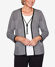 Women's Plus Size Knightsbridge Station Houndstooth Patchwork Two-For-One Sweater