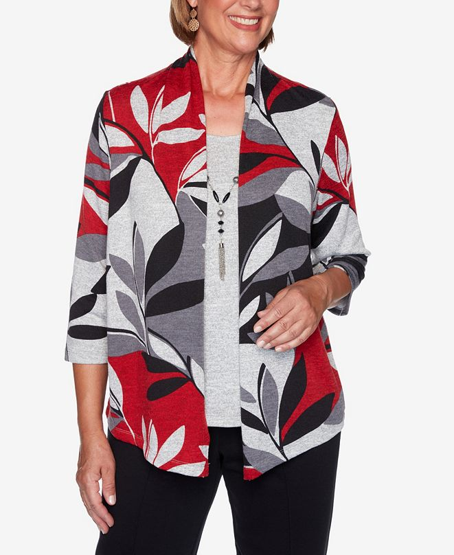 Alfred Dunner Women's Plus Size Knightsbridge Station Leaf Patchwork Two-For-One Top