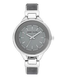 Gray Enamel and Silver-Tone Bracelet Watch 36mm