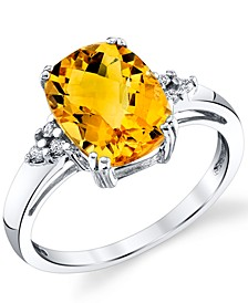 Citrine (2-3/4 ct. t.w.) & Diamond (1/20 ct. t.w.) Ring in Sterling Silver
