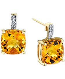 Citrine (5-5/8 ct. t.w.) & Diamond (1/20 ct. t.w.) Stud Earrings in 14k Gold