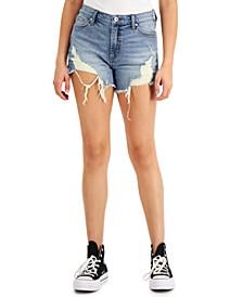Juniors' High-Rise Destructed Jean Shorts