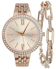 INC Women's Rose Gold-Tone Bracelet Watch 38mm Gift Set, Created for Macy's