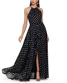 Foil-Print Chiffon Gown