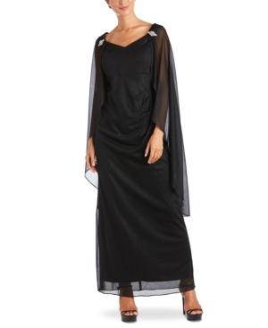 70s Dresses – Disco Dress, Hippie Dress, Wrap Dress R  M Richards Shimmer Capelet Gown $129.00 AT vintagedancer.com
