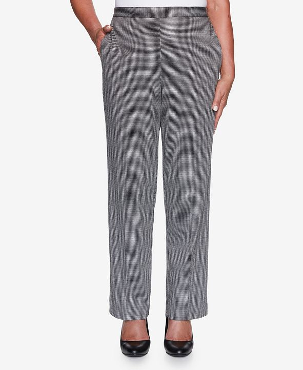 Alfred Dunner Women's Plus Size Knightsbridge Station Houndstooth Knit Proportioned Pant