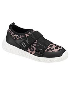 Little Girls Leopard Slip On Strap Sneakers Shoe