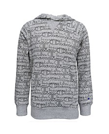 Aop Layered Script Big Girls Fleece Hoodie