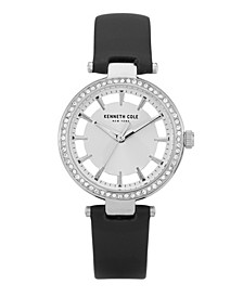 Women's Diamond Dial Black Genuine Leather Strap Watch 34mm