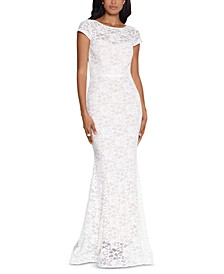 Lace Cap-Sleeve Gown