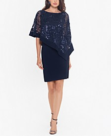 Sequinned-Overlay Sheath Dress