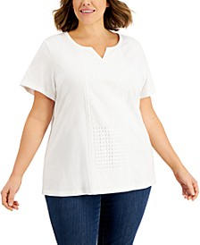 Plus Size Lace-Front Top, Created for Macy's