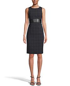 Kasper Printed Faux-Leather-Trim Dress