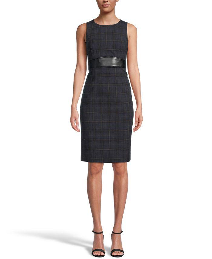 Kasper - Printed Faux-Leather-Trim Dress
