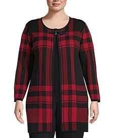 Plus Size Plaid Flyaway Cardigan