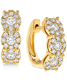 Diamond Halo Hoop Earrings (1 ct. t.w.) in 14k Gold or 14k White Gold