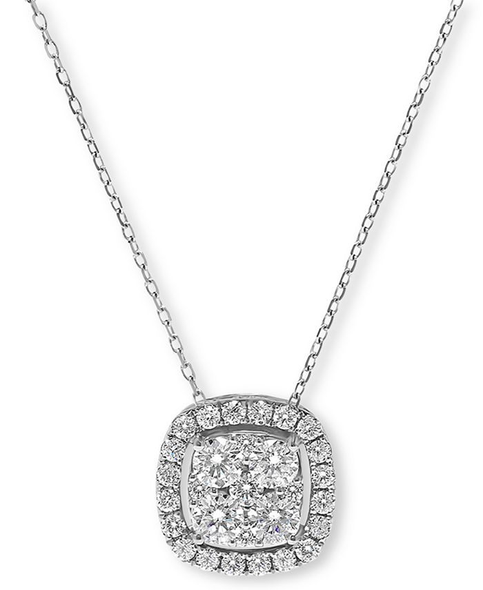 "Macy's - Diamond Halo Cluster Pendant Necklace (1 ct. t.w.), 16"" + 2"" extender"