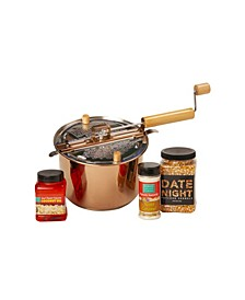 Date Night Copper Plated Whirley Pop Popcorn Set, 4 Pieces