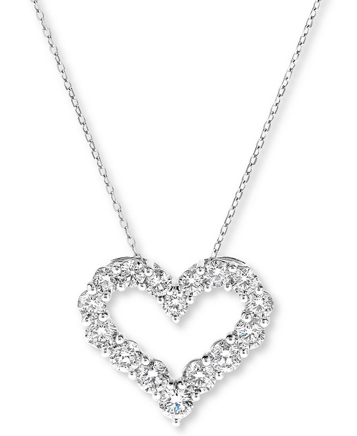 "Macy's - Diamond Heart Pendant Necklace (2 ct. t.w.) in 14k White Gold, 16"" + 2"" extender"