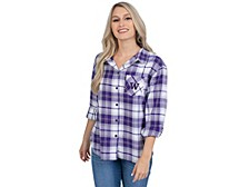UG Apparel Washington Huskies Women's Flannel Boyfriend Plaid Button Up Shirt