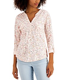 Cotton Printed 3/4-Button-Front Top, Created for Macy's
