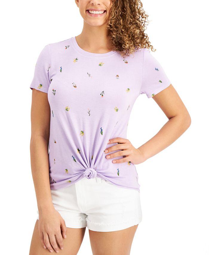 Self Esteem - Juniors' Floral-Print Knot-Hem T-Shirt