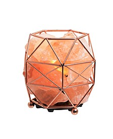 Himalayan Salt Crystal Lamp with Rose Gold Basket