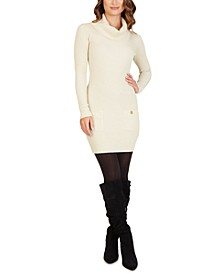 Juniors' Cowlneck Sweater Dress