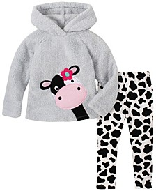 Toddler Girl 2-Piece Hooded Fleece Top with Cow Print Legging Set