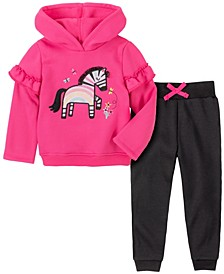 Toddler Girl 2-Piece Zebra Hooded Fleece Top with Fleece Pant Set