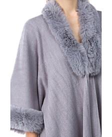 Women's Faux Fur Trim Ruana