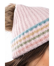 Women's Striped Faux Fur Pom Hat