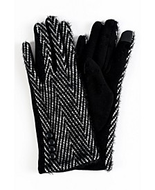 Women's Eyelash Herringbone Touchscreen Glove