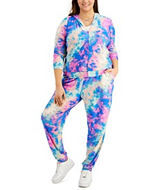 Trendy Plus Size 2-Pc. Tie-Dyed Hoodie & Jogger Pants