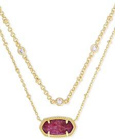 "14k Gold-Plated Cubic Zirconia & Raspberry Labradorite Layered Pendant Necklace, 18"" + 2"" extender"