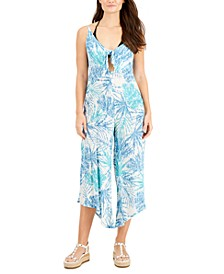 Printed Tie-Front Cover-Up Jumpsuit