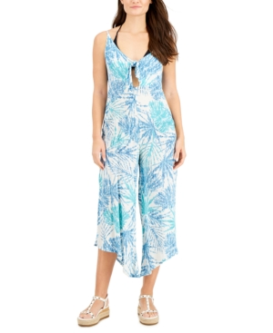 Printed Tie-Front Cover-Up Jumpsuit Women's Swimsuit