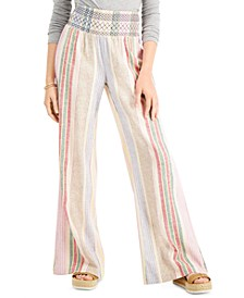 Juniors' Striped Smocked Beach Pants