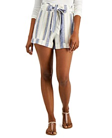 Juniors' Striped Tie-Waist Shorts
