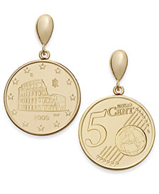 Vermeil Engraved Euro Coin Drop Earrings