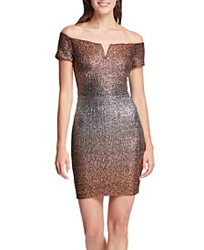Off-The-Shoulder Metallic Bodycon Dress