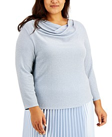 Plus Size Asymmetrical Cowlneck Top, Created for Macy's