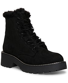 Carra Faux-Fur Combat Booties