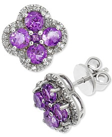 Amethyst (1-7/8 ct. t.w.) & White Topaz (1/4 ct. t.w.) Clover Cluster Halo Stud Earrings in Sterling Silver (Also in London Blue Topaz, Rhodolite Garnet & Multi-Stone)