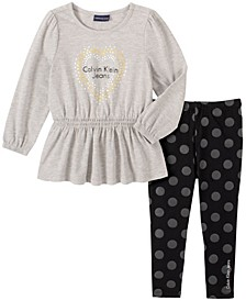 Toddler Girl Knit Tunic with Dot Print Legging, 2 Piece Set
