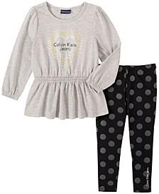 Toddler Girl Knit Tunic with Dot Print Legging, 2 Piece Set