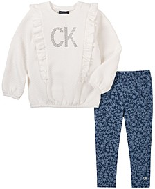Little Girl Quilted Fleece Top with Faux Knit Denim Legging, 2 Piece Set