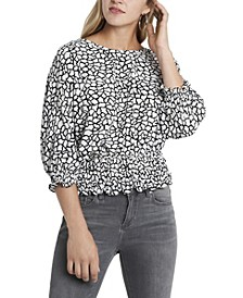 Women's Smocked Waist Dolman Sleeve Printed Top