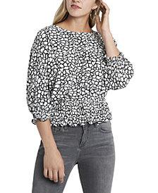 Women's Smocked Waist Dolman Sleeve Printed Top
