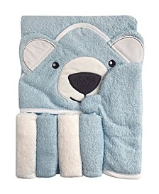 Snoogie Boo Baby Premium Cotton Hooded Towel, Wash-mitt, Washcloth Set